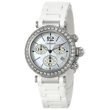 Cartier Pasha Seatimer Chronograph Mother of Pearl Dial Ladies Watch WJ130003