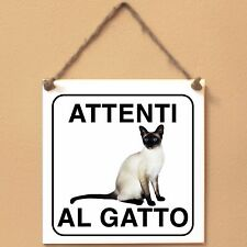Siamese 3 Attenti al gatto Targa gatto cartello ceramic tiles