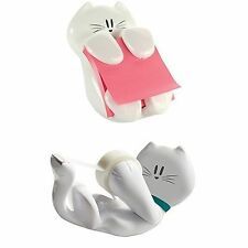 Cute Desk Accessories Cat Scotch Tape Holder AND Post-it Pop-up Notes Dispenser