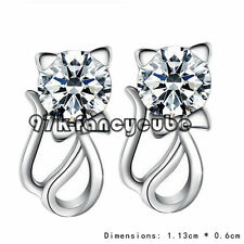 XPP 97F High Quality Plated Hypoallergenic Cat Diamond Silver Earrings Romantic