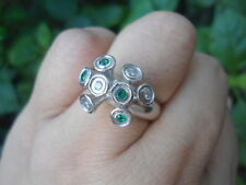 Natural White SAPPHIRE & Green TSAVORITE GARNET 925 STERLING SILVER RING S7.50