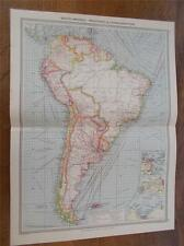 Antique c1904 Colour Map SOUTH AMERICA INDUSTRIES & COMMUNICATIONS HARMSWORTH