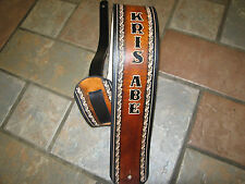 """CUSTOM HAND TOOLED LEATHER 3 1/2"""" WIDE GUITAR STRAP HAND-TOOLED WITH YOUR NAME"""