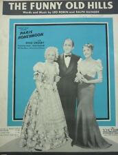 Vintage THE FUNNY OLD HILLS MUSIC SHEET words  Bing Crosby Paris Honeymoon 1938