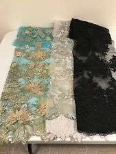 "3 PIECE ASSORTED EMBROIDERY LACE FABRIC 52"" WIDE EACH PC 1/2"