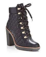$398 size 8.5 Kate Spade Gianna Black Leather Platforms Womens Ankle Boots NEW