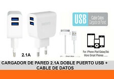 Cargador De Red 2.1A Doble Puerto USB + Cable de Datos Para IPHONE 3 3G 4G 4S