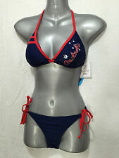 BNWT Ladies Sz 12 Wavezone Brand Navy Blue Aussie Print Bikini Swim Suit Set