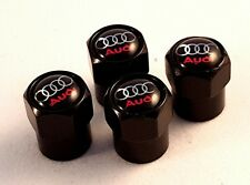 AUDI Black Wheel Tyre Valve Dust Caps set x4 RS S6 A2 Anti Theft S line A4 SQ5