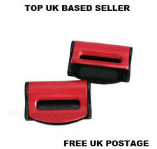 RED MG SEAT ADJUSTABLE SAFETY BELT STOPPER CLIP CAR TRAVEL 2PCS