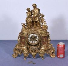 *Vintage Brass Mantel Clock Hermle FHS Clockworks Bronze Romantic Theme