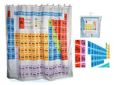 SHOWER BATH CURTAIN PERIODIC TABLE ELEMENTS CHEMISTRY POLYESTER W/ HOOKS & RINGS