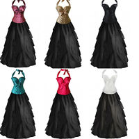 GOTHIC CORSET LONG SKIRT STEAMPUNK Evening Party Casual Waterfull Dress Up S-2XL