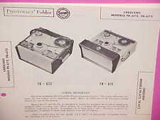 1957 CRESCENT TAPE RECORDER SERVICE SHOP REPAIR MANUAL MODELS TR-672 TR-673