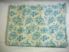 Vintage Novelty Print Fabric- Turquoise Cream Far East Design- Panther Thailand