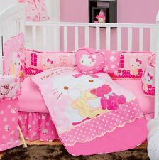 New Baby Girls SANRIO HELLO KITTY CARAMEL Pink Nursery Crib Bedding Set 5 Pieces