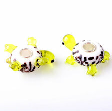 1pcs SILVER MURANO GLASS BEAD LAMPWORK Animal fit European Charm Bracelet ZZ291