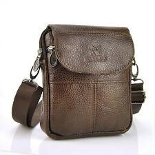 Classic Genuine Leather Small Flap Shoulder Bag Men Women Messenger Purse Casual