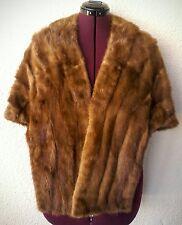 Vtg 50s AUTUMN HAZE Genuine MINK Fur HONEY Blonde STOLE Wrap Clutch CAPE CAPELET
