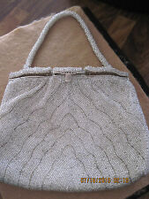Vintage Beautiful Silver Bead Art Deco Box Style Purse with Mirror in Clasp!!!