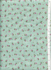 2006 mary engelbreit ~MARY'S CUTIES PINK FLOWERS GREEN GINGHAM CHECK~ fabric