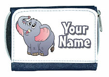 CUTE ELEPHANT PERSONALISED LADIES / GIRLS DENIM PURSE-GREAT NAMED GIFT/PRESENT