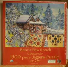 SunsOut BEAR'S PAW RANCH Christmas Quilting 1500 pc Jigsaw Puzzle 24 X 33