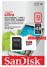 SanDisk 32GB 32G Ultra Micro SDHC SD Card UHS-I Class 10 MicroSD Memory Adapter