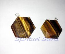 Tiger Eye Stone Pendant Shaped as Hexagon (Sacred Geometry/ Star of David)- 1 Pc
