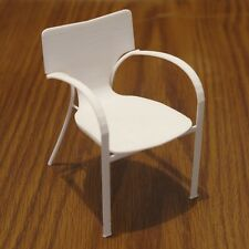 "Strada Chair miniature 3D printed white plastic 3.7"" tall"
