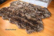 Brown 60 x 84 Coyote Faux Fur Throw Rug Sheepskin Pelt Carpet Rug Wolf Fox Fur