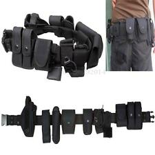 Police Guard Tactical Belt Buckles Black 9 Pouches Utility Security System UK