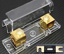 CAR STEREO AUDIO INLINE ANL GOLD PLATE FUSE HOLDER 0 2 4 GAUGE 300 AMP 300A