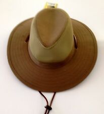 Fisherman Cowboy Crushable Wide Brim Hiking Mesh Hat Sun Cap Vented Olive L/XL