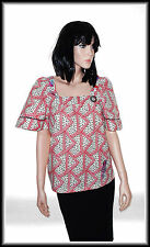 Laura For TopShop Embroidered Short Sleeve Top size UK 8/10  EUR  36/38