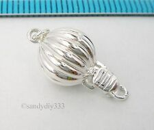 1x BRIGHT STERLING SILVER CORRUGATED BALL 1-strand ROUND BOX CLASP 8.7mm #2599