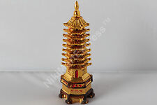 Golden Oriental Chinese Feng Shui Harmony PAGODA Statue 9 Tier NEW