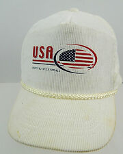 VINTAGE WHITE CORDUROY USA LIBERTY & JUSTICE FOR ALL FLAG, USA HAT FAIR COND.