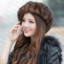 Winter Women Real New Mink Fur Hat Cap Headgear Beanie Beret QS 00034.1