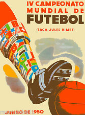 1950 FIFA World Cup Soccer Brazil South America Travel Advertisement Poster