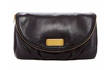 NEW Q Marc by Marc Jacobs Black Leather Foldover Clutch Bag Natasha $268