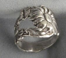 Sterling Silver Oxidized  Vintage w/ Sunflower Design Spoon Adjustable Ring 925