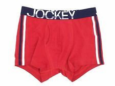 $42 JOCKEY UNDERWEAR MENS RED WHITE COTTON STRETCH  LOW-RISE BOXER BRIEF SIZE S