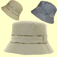 New 100% Cotton Bucket Sun Hat Demim Feel Mens Ladies Sun Festival Hat Packable