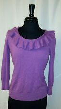 Ralph Lauren Green Label Silk/Cashmere Purple Ruffled Neckline Sweater Size M