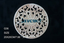 20x20cm Wood Carved Round Onlay Applique Unpainted Wall Door Furniture G36 QTY.1