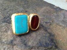 Turkish~ Jewelry Ring~Turquoise Blue And Red Agate Stones-Adjustable 24k Gold PL