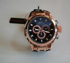 Heavy Black/Silver/Rose Gold Finish Rubber Band Fashion Inspired Rapper Watch