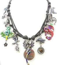 KIRKS FOLLY PROTECTED BY DRAGONS CORDED CHARM NECKLACE NEVER RELEASED silvertone