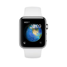 NEW Apple Watch MNPR2LL/A White Sports Band 42mm Stainless Steel Case Smart